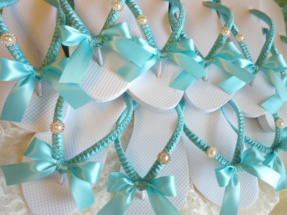 Bridesmaids Gift Tiffany Blue Wedding flip flops(great for reception in case of sore feet from heels!)