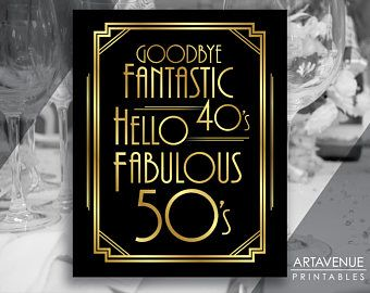 art deco party decor 50th birthday signs party printables party