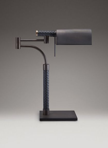 Reading lamp from Bottega Veneta, made from leather and metal