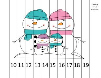 """Adorable little puzzle perfect for centers, choice time, or early finishers! All you need to do is print, laminate, and cut!  The puzzle comes in vertical strips (just under 1"""" wide), features a snowman family and goes from 10 to 19 by ones so students can practice teen numbers."""