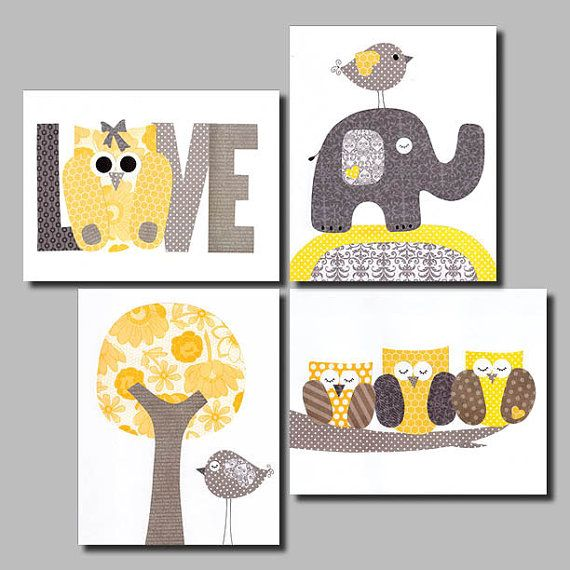 Yellow and Grey Nursery Artwork Yellow Gray Nursery Art Baby Nursery Decor