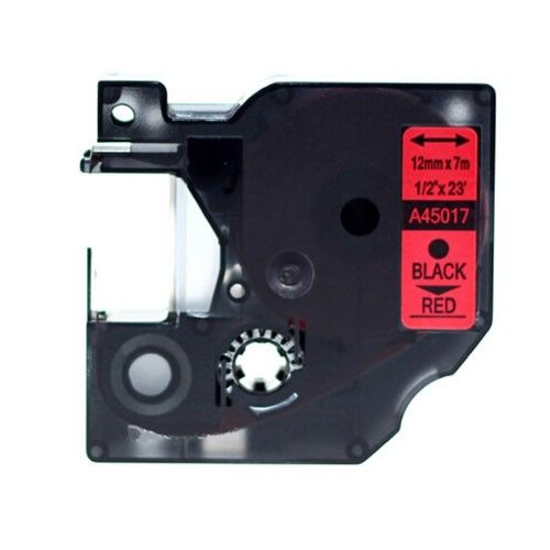 """Dymo D1 45017 12mm (0.5"""") Black on Red Compatible Label Tape"""