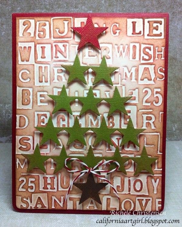 Richele Christensen: Christmas Tree Card  Great use of 4th July die!  http://californiaartgirl.blogspot.com/2012/11/christmas-tree-card.html#