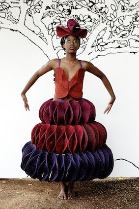 Three tier tang red, bordeaux and purple dress and headpiece made from handwoven lutindzi placemats by Gone Rural. #ruraltoramp