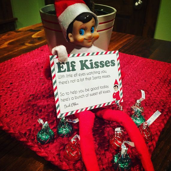 Elf on the shelf notes elf kisses includes editable template for elf