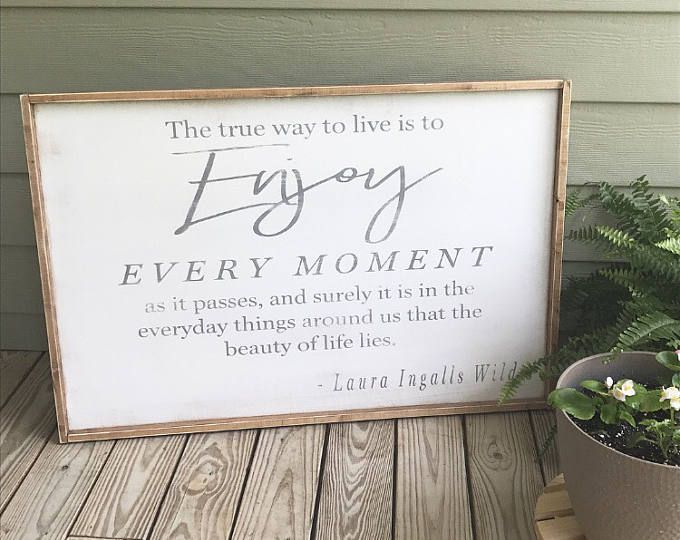 The True Way To Live, Laura Ingalls Wilder, Living Room Sign, Farmhouse, Farmhouse Style, Wood Sign, Rustic, Distressed, Wooden Sign