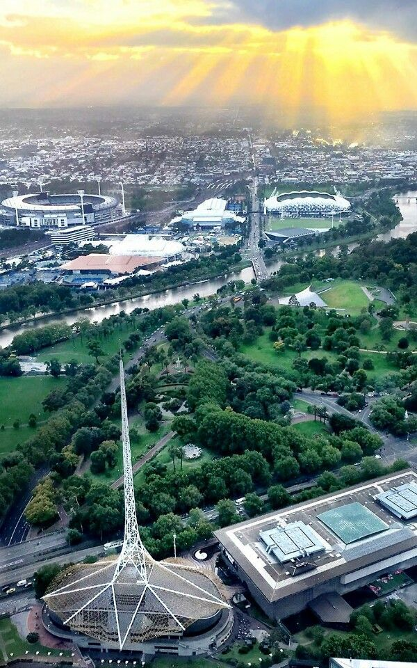 View of Melbourne's sports precinct in the background, MCG, tennis centre, AAMI Park