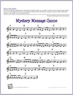 "Mystery Message Game | Printable Music Game | Students will compare and contrast rhythm/pitch sets in this musical twist on the classic ""Hangman"" game. - http://www.makingmusicfun.net/htm/f_printit_lesson_resources/mystery-message-game.htm"