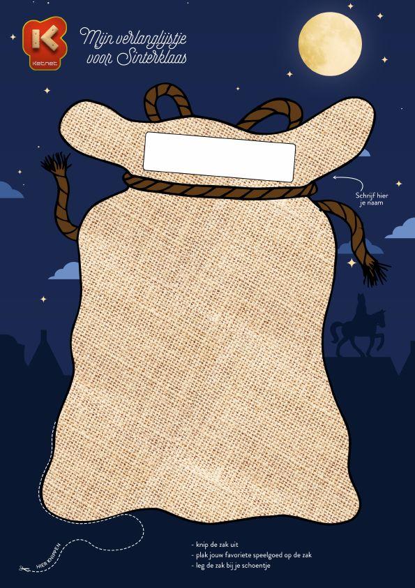 Verzamel je favoriete speelgoedprentjes, knip ze uit, en kleef ze op de zak van Zwarte Piet. http://www.ketnet.be/doen/sinterklaas-2014/tel-af-naar-6-december/verlanglijstje