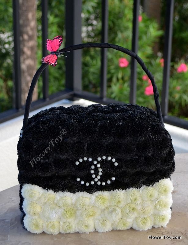 Chanel Inspired handbag made from fresh flowers. Now available at www.flowertoy.com