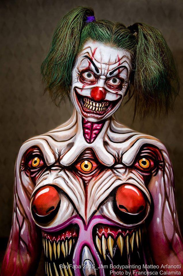 My scary Clown on the beautiful Nicole Diandra painted at BAYfaba Convention - Bodypainting Matteo Arfanotti - Photo Francesca Calamita