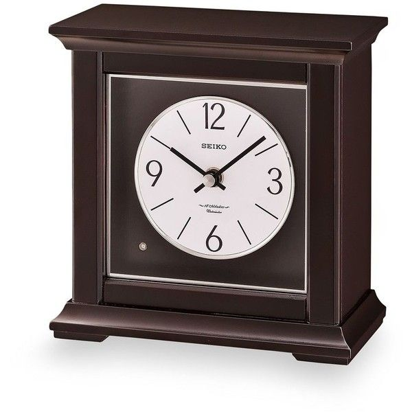 Seiko Wood Musical Mantel Clock ($185) ❤ liked on Polyvore featuring home, home decor, clocks, brown, wood desk clock, seiko clocks, solar system clock, battery powered clock and seiko desk clock