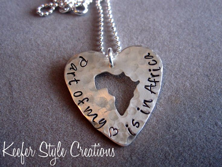 I want this! Hand+Stamped+My+heart+is+in+Africa+by+KeeferStyleCreations+on+Etsy,+$58.00