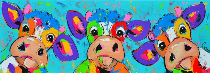 Vrolijke en kleurrijke koeien schilderij: Gek doen