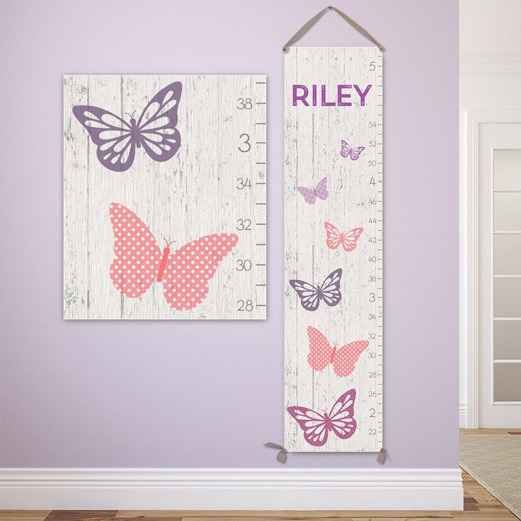 Butterfly Nursery Decor - Personalized Canvas Growth Chart, Growth Chart Girl, Height Chart - GC0117S by JoliePrints on Etsy