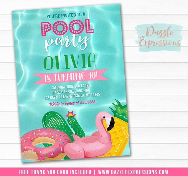 Printable Pool Float Birthday Invitation | Kids or Teen Pool Party | End of School Party | Flamingo Floatie, Pineapple Floaty, Donut Float | Swimming | Water Park | Splash Park | Beach Party | Thank You Card | Cupcake Toppers | Favor Tag | Food Labels | Candy Bar Wrappers | Signs | Banner | Photo Props | DIY Party Package Decor