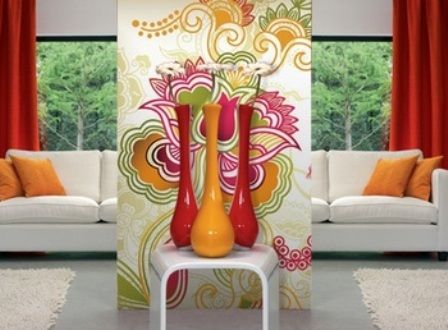 Feeling a bit daring? A colorful #wall mural can make a thrilling decorative statement. To keep it from feeling over-the-top is complementing it with accents (couch, curtains, throw pillows) that are in a similar shade. #interiordesign  http://www.inkshuffle.com/Floral_Abstract-1172913000