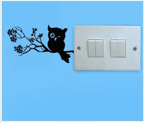 This owl's new resting place is your switchboard! It's an easy to apply wall-sticker. Cool, right?    http://www.gloob.in/decals/owl.html