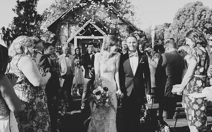 The very happy Mr & Mrs + 1 very well timed confetti cannon. Tweed Hinterland Wedding - Velleron House - Nat McComas. Tweed Wedding Celebrant. Byron Bay Wedding Celebrant