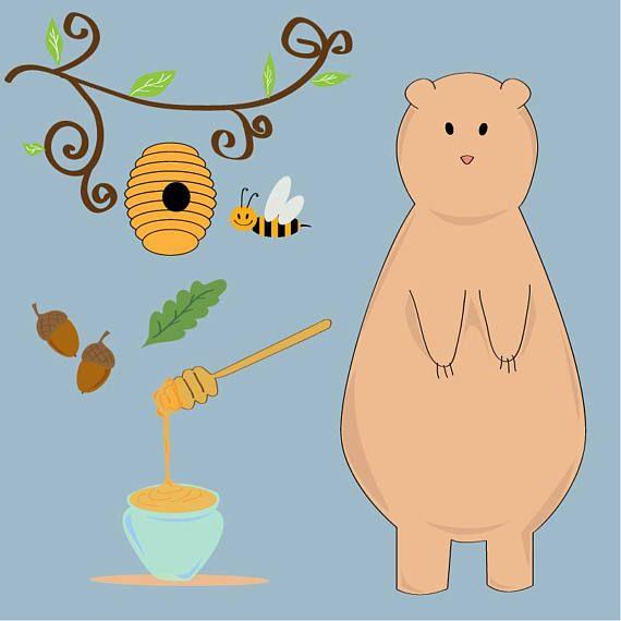 Dolce illustrazione vettoriale raffigurante un orso ghiotto di