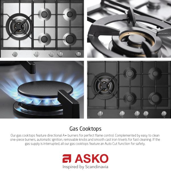 Our gas cooktops feature directional A+ burners for perfect flame control. Complemented by easy to clean one-piece burners, automatic ignition, removable knobs and smooth cast iron trivets for fast cleaning. If the gas supply is interrupted, all our gas cooktops feature an Auto Cut function for safety.