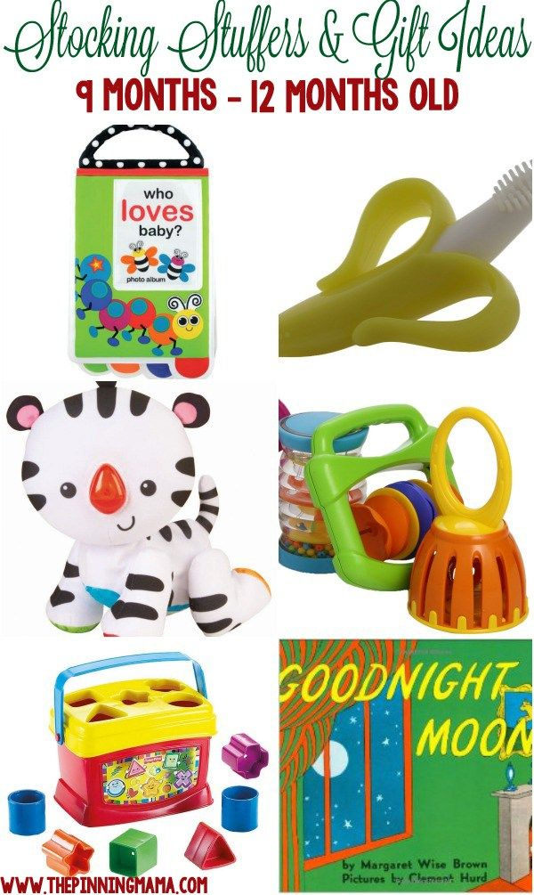 Great gift ideas for a 9 month old baby, 10 month old baby and 11 month old baby! Perfect for stocking stuffers, Christmas or birthdays!