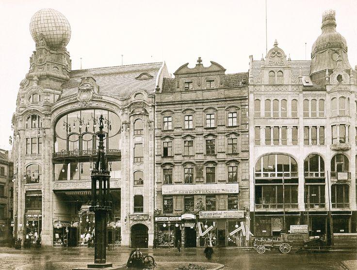 Breslau. Gebr. Barasch Warenhaus (Feniks) i wschodnia pierzeja Rynku z Pręgierzem, 1905.