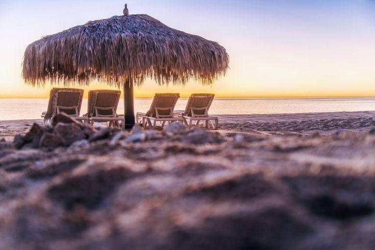 ITAP of a tiki umbrella at sunrise