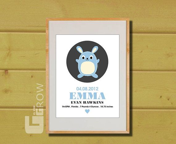 #personalized #nursery #baby #decorwall #artbirth #announcement, #art print #babyroom #gisforgrow