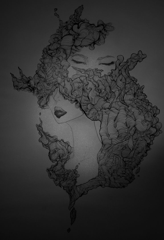 Eyes wide shut es un proyecto personal que hasta ahora, es el que más tiempo me ha quitado. Es un proyecto que viene en relación a lo vivido, lo experimentado en los últimos meses. Cuenta un relato un tanto oscuro, quizás no perceptible a simple vista, pero es fácil ver que las líneas se mezclan entre sí para intentar ser unidas pero a la vez, crean una imagen de algo que está creciendo de forma incontrolado, como el odio por ejemplo.
