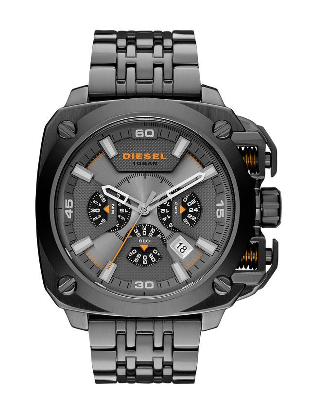 Diesel Bamf Men's Quartz Watch with Multicolour Dial Analogue Display and  Black Stainless Steel Bracelet