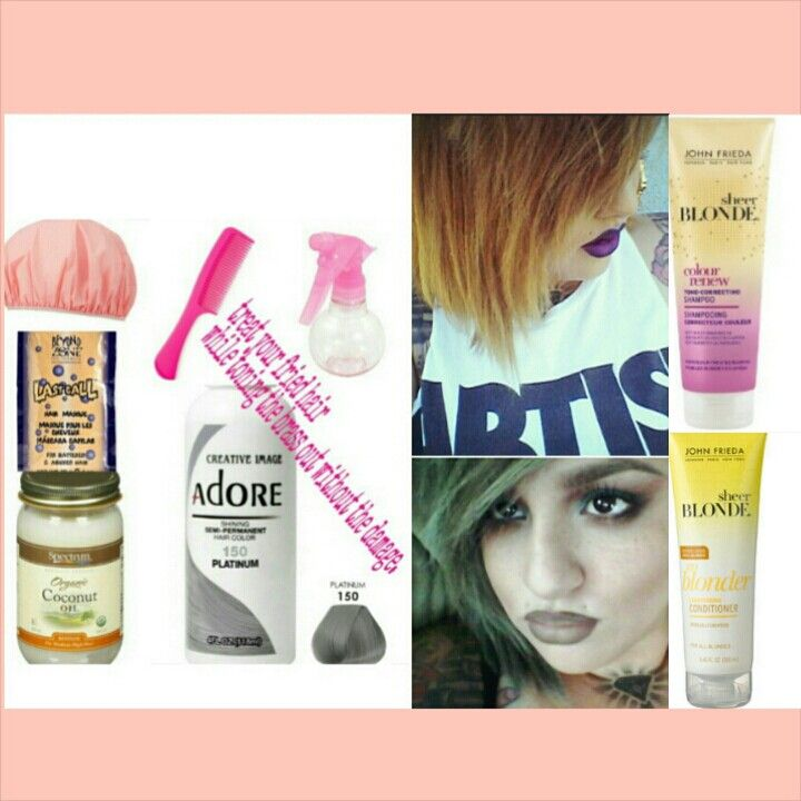 treat your fried hair  while toning the brass out without the damage.  What you'll need: ✔Coconut oil (melted) ✔Beyond last call hair mask ✔Adore platinum 150 temporary hair color ✔hair comb  ✔spray bottle ✔shower cap Mix all ingredients above into spray bottle, apply it on damped hair leave on for 30 mins or two hours. Then rinse with products below.  ✔John Frieda color renew purple shampoo ✔John Frieda go blonde conditioner