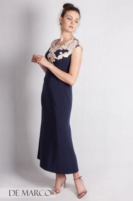 1173676c58 Granatowa długa sukienka na wesele dla mamy Pana młodego   Pani młodej.  Szycie na miarę