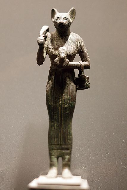 Bastet - Solid cast bronze statue of the cat goddess, Egypt 664-332 BC  (Musée du Louvre)