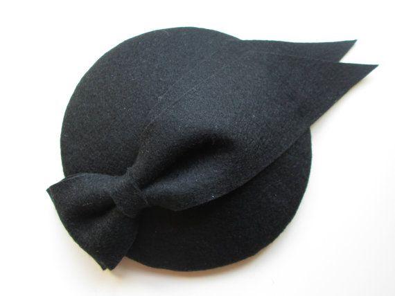 Black Cocktail Hat - Felt Hat, Wedding Hat, Felt Fascinator, Black, Bridesmaid…