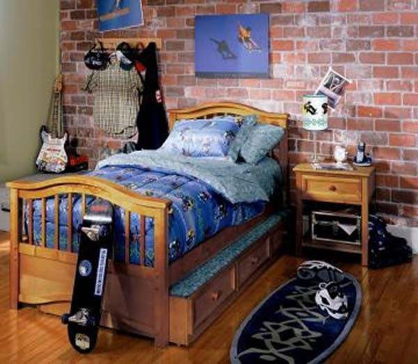Cool Boy Bedroom Ideas With Wall Brick For Boys Bedroom