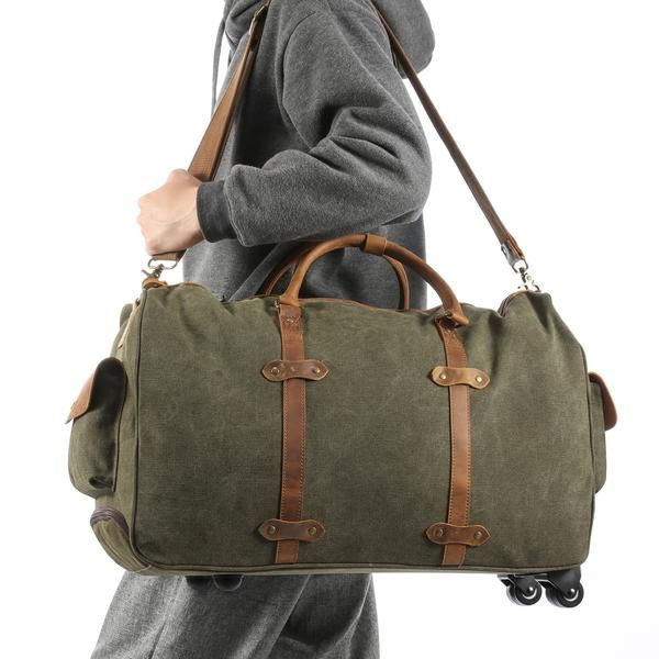 b7d88f9102 Kattee Oversized Canvas Leather Trim Wheeled Duffel Bag Travel Weekend Tote