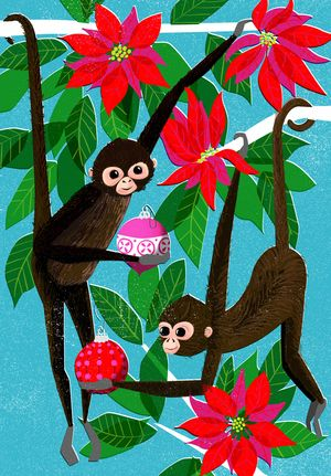 Spider Monkeys in a poinsettia tree. Holiday cards, christmas. illustration