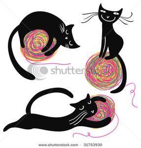 cat w yarn