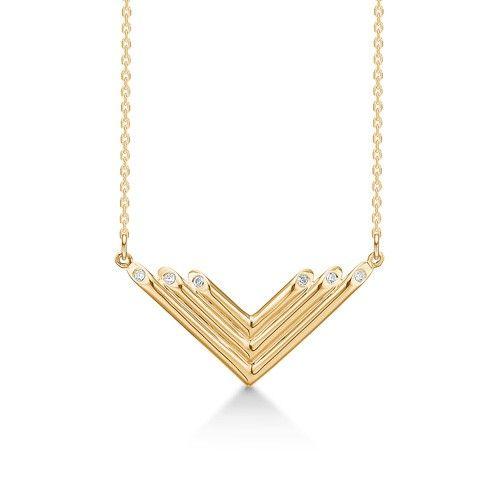 ORGAN 8 karat guld halskæde med zirkoniasten.  Flot halskæde i moderne design med 6 små zirkoniasten.  ORGAN er fra Mads Zieglers White Label