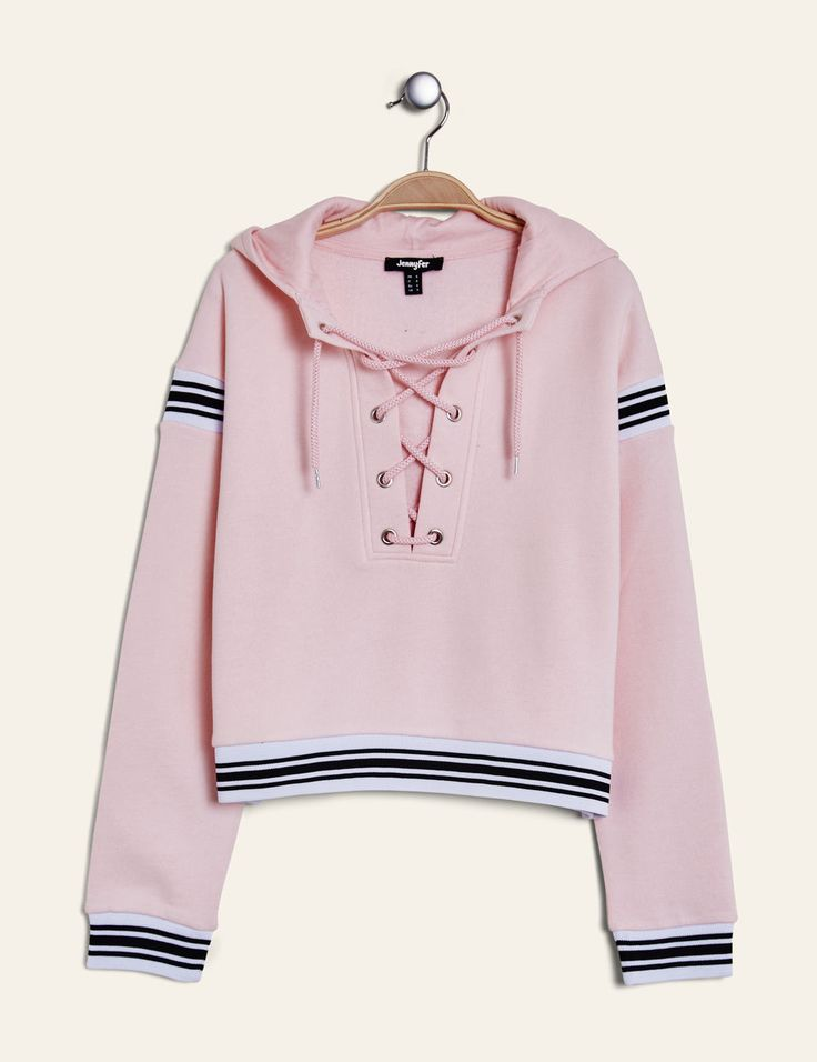 Light pink hoodie with lacing detail woman • Jennyfer