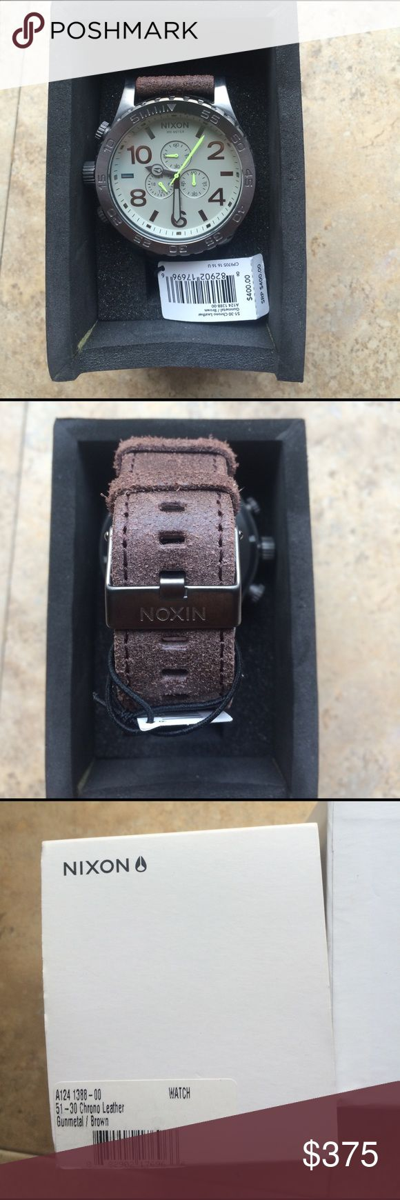Nixon Watch Gunmetal and Weathered Leather Band. I bought it for my husband but it doesn't fit his wrist. Never been worn. Box and papers included. Nixon Accessories Watches