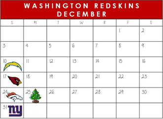 Washington Redskins December Schedule 2017  #WashingtonDC #Redskins #NFLSchedule #JordinsTurf