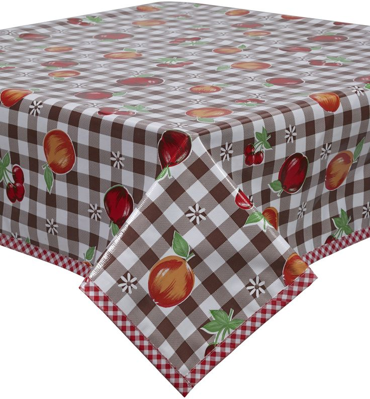 Fruit And Brown Gingham Oilcloth Tablecloth