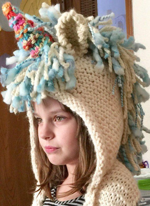 FREE SHIP Custom Knit Unicorn Hood Scarf Hat Mittens Sizes 12  86dc40a5e86
