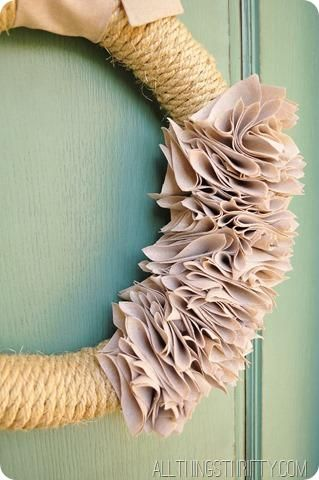 Learn how to make a ruffle wreath out of rope and a drop cloth.