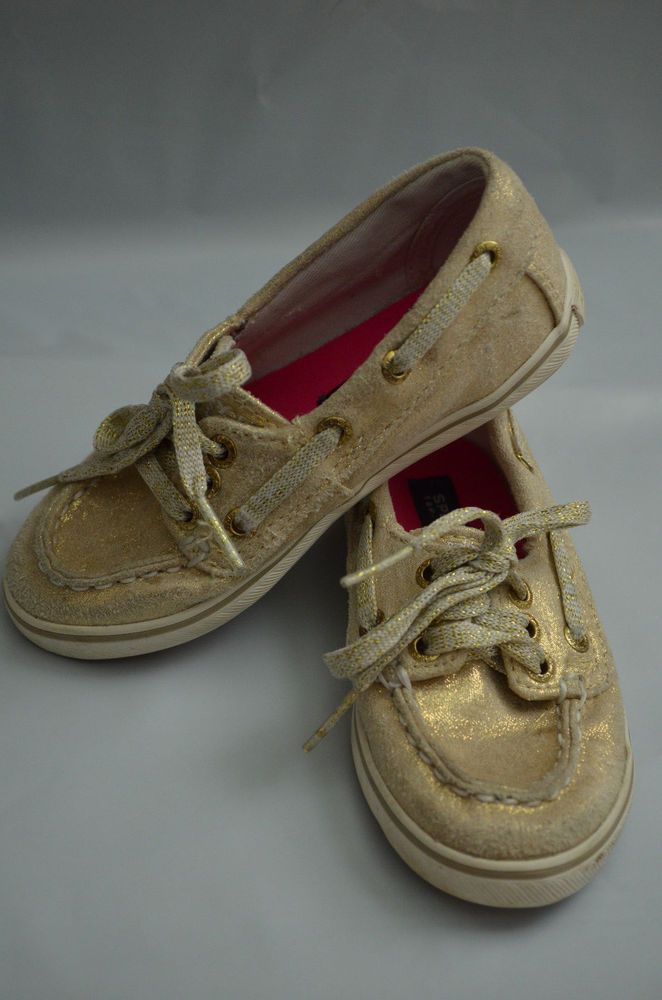 9M Toddler Girls Sperry Top Sider Cruiser Gold Metallic Canvas Boat Shoe Loafers #Sperry #Loafers