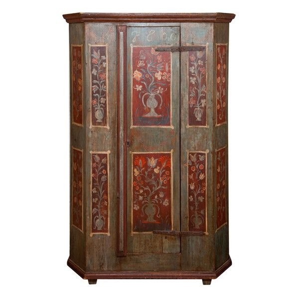 Eleish Van Breems 19th century Bavarian Armoire (9,090 CAD) ❤ liked on Polyvore featuring home, furniture, storage & shelves, armoires, floral furniture, 19th century furniture, floral painted furniture, painted armoire and flower stem