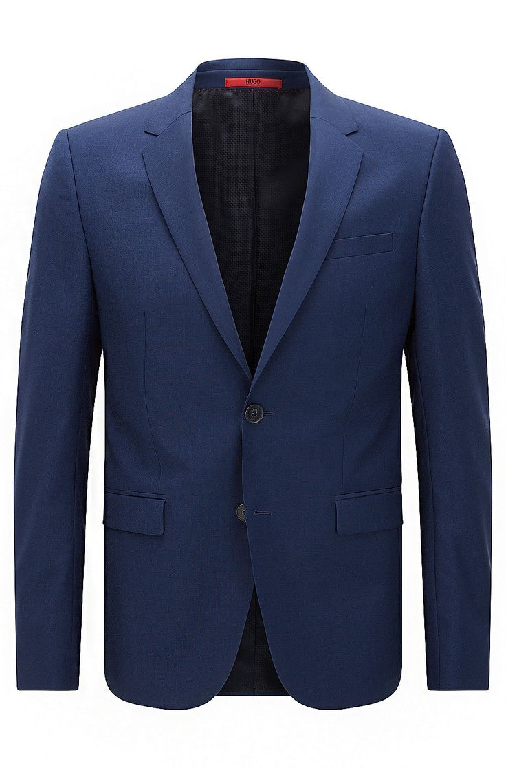 Extra-slim-fit suit jacket in virgin wool Blue from HUGO for Men for £330.00 in the official HUGO BOSS Online Store free shipping