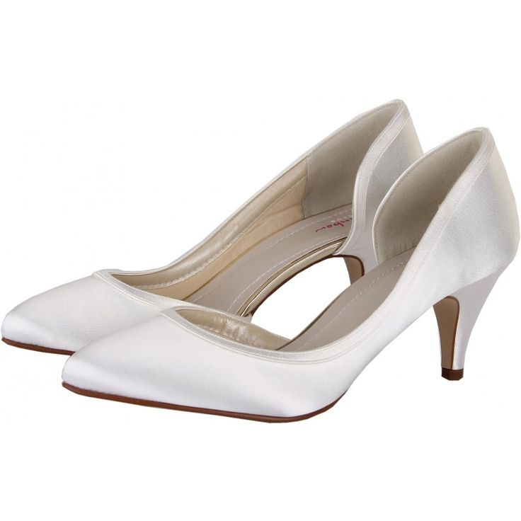 Abbie White Satin Court Shoes - A graceful three quarter cut court shoe finished with a neat overlay, this style is available in sizes 3-8 including half sizes. £69.00